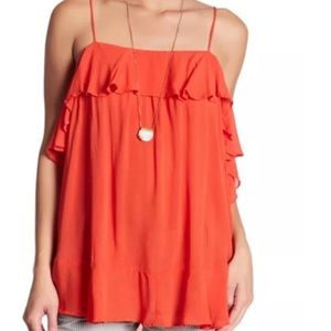 Free People Cascades Ruffle Cami Color Fire
